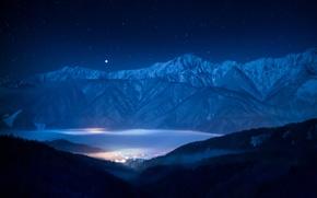 Обои Сириус, горы, небо, звезда, звезды, пейзаж