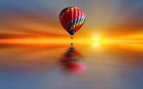 Картинка озеро, стиль, краски, шар, воздушный, Josep Sumalla
