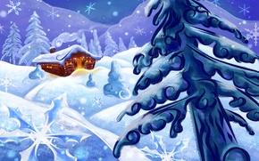 Обои Елка, рисунок, дом, снег, зима