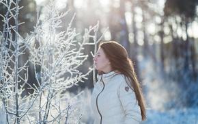 Картинка зима, девушка, снег, портрет, утро