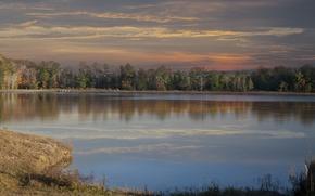 Картинка осень, лес, озеро, вечер