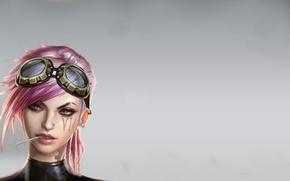 Картинка девушка, пирсинг, очки, girl, pink, шесть, Women, hair, розовые волосы