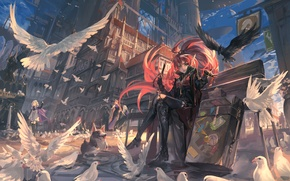 Картинка небо, девушка, облака, птицы, город, оружие, люди, дома, собака, меч, аниме, арт, чемоданы, alcd