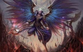 Картинка скалы, эльф, крылья, фэнтези, арт, лава, маг, посох, парень
