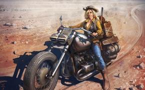 Картинка взгляд, девушка, шляпа, сапоги, арт, мотоцикл