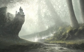 Картинка лес, река, арт, нарисованный пейзаж, уступ. дом