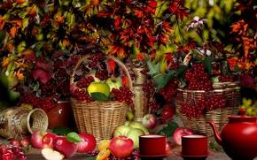 Картинка осень, яблоки, Корзина, фрукты