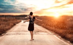 Обои дорога, девушка, танец, косички, Alessandro Di Cicco