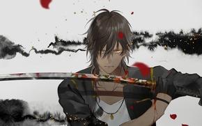 Картинка взгляд, кровь, меч, арт, самурай, парень, стойка, touken ranbu