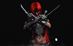 Картинка взгляд, туман, оружие, фон, зеленые глаза, красные волосы, вампирша, BloodRayne