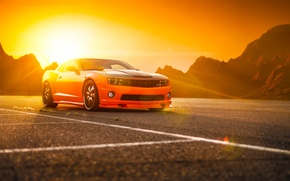 Обои chevrolet, camaro, ss, orange, muscle, car, wheels, tuning, sun, beam