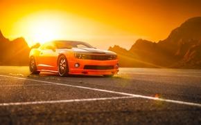 Картинка Chevrolet, Muscle, Camaro, Orange, Car, Power, Front, Sun, Tuning, Wheels, Beam