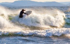 Картинка waves, sea, mountains, surfing, splash, sunlight, spray, extreme sport, sufer