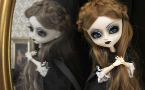 Картинка отражение, готика, игрушка, кукла, зеркало, длинные волосы