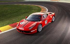 Картинка Ferrari, феррари, красная, трек, 458 Challenge 2011