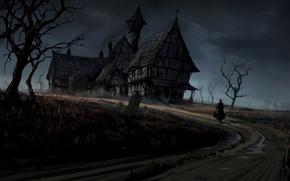 Картинка дорога, поле, деревья, дом, готика, человек, арт