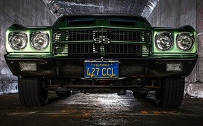 Картинка ретро, Chevrolet, классика, передок, Chevelle