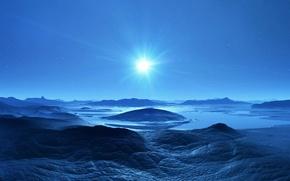 Обои свет, звезды, пейзаж