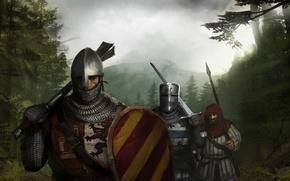 Обои Меч, Рыцари, Кольчуга, Копье, Щит, Cредневековье, Топфхелм, Норманнский шлем, Многолопастная булава, оруженосец