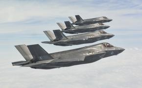 Картинка небо, полет, истребители, строй, бомбардировщики, Lightning II, F-35B