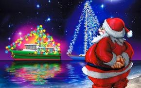 Картинка небо, звезды, отражения, берег, яхты, огоньки, Новый Год, Happy New Year, Санта-Клаус