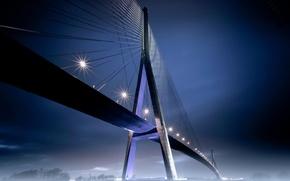 Картинка ночь, мост, огни, туман
