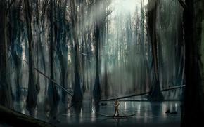 Картинка деревья, река, лодка, человек, арт, солнечные лучи