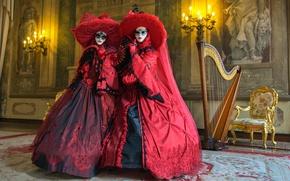 Обои стиль, маски, девушки