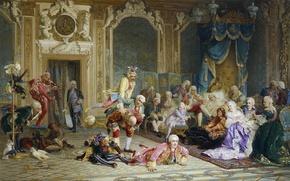 Картинка Холст, масло., 1872, (1836-1901), Валерий ЯКОБИ, Шуты при дворе императрицы Анны Иоанновны