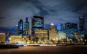 Картинка Ночь, Чикаго, Небоскребы, USA, Chicago, skyline, nightscape