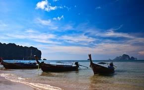 Картинка море, солнце, лонгбоат, таиланд, горы