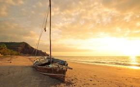 Картинка песок, море, пляж, рассвет, лодка