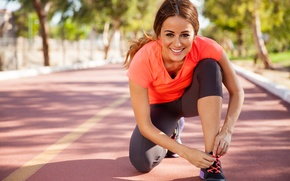 Картинка woman, workout, running, jogging, sporty outf, warming up, lafestyle
