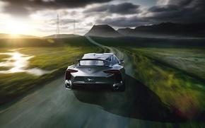Картинка Concept, Toyota, Car, Speed, Sun, Road, Automotive, Rear, FT-1