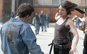 Картинка фон, актриса, зомби, zombie, сериал, тюрьма, serial, The Walking Dead, Ходячие мертвецы, Lauren Cohan, Мэгги …