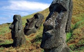 Обои камень, лица, Тотем