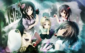 Картинка группа, клубника, фуражка, akiyama mio, tainaka ritsu, kotobuki tsumugi, nakano azusa, K-on, легкая музыка, listen!!, …