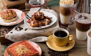 Картинка ягоды, кофе, вафли, бутерброды, лате