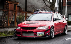 Обои Красная, Mitsubishi, Lancer, Red, Lights, Tuning, Лансер, JDM, Wheels, Evolution 9, Митсубиcи, Эволюшн 9