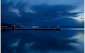 Картинка отражение, остров, синее, освещение, берег, ночь, Норвегия, маяк, небо, река, облака