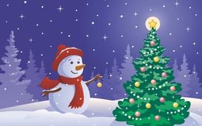 Картинка звезды, украшения, игрушки, елка, Новый Год, снеговик