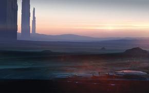 Картинка пейзаж, закат, фантастика, пустыня, art