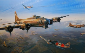 Картинка aircraft, war, airplane, aviation, flying fortress, dogfight, fw 190, b-17