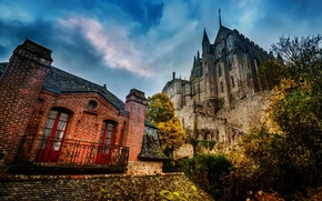 Картинка небо, облака, замок, Франция, hdr, Нормандия, Мон-Сен-Мишель