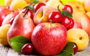 Картинка яблоки, фрукты, абрикос, груши, черешня