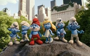 Картинка город, человечки, Нью-Йорк, синие, мультяшки, Смурфы, гномики, Смурфики, Smurfs