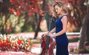 Обои девушка, музыка, виолончель