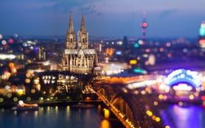 Картинка мост, город, огни, река, вечер, Германия, церковь, Germany, боке, Deutschland, Кёльнский собор, Kölner Dom, Кёльн, …