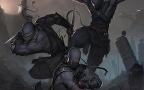 Обои оружие, арт, ниндзя, Ninja, войны, маски, прыжок
