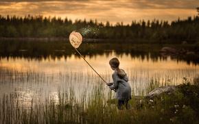 Картинка девочка, озеро, закат